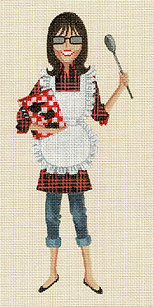 Leigh Designs - Hand-painted Needlepoint Canvases - Sassy Sally - Cooking Sally