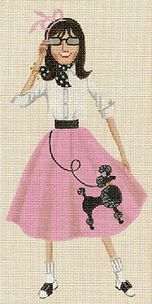 Leigh Designs - Hand-painted Needlepoint Canvases - Sassy Sally - Rock n Roll Sally