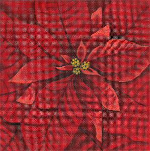 Leigh Designs - Hand-painted Needlepoint Canvases - Bouquet -Poinsettia