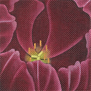 Leigh Designs - Hand-painted Needlepoint Canvases - Tulip Coaster