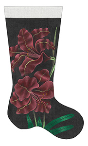 Leigh Designs - Hand-painted Needlepoint Canvases - Amaryllis Stocking