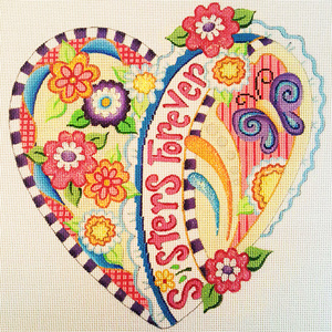 Sisters Forever Hand-painted Needlepoint Canvas
