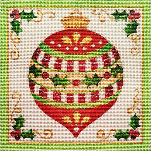 Holly and Red Christmas Ornament Hand Painted Needlepoint Canvas from Laurie Furnell