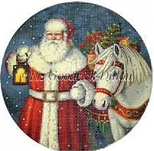 Liz Goodrick-Dillon Hand Painted Christmas Ornament - Santa with Horse and Presents
