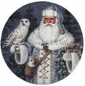 Liz Goodrick-Dillon Hand Painted Needlepoint Christmas Ornament - Blue Arctic Santa with Arctic Owl