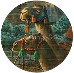 Liz Goodrick-Dillon Hand Painted Needlepoint Christmas Ornament - Camels