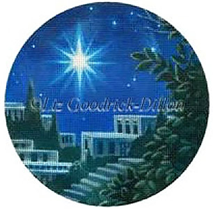 Liz Goodrick-Dillon Hand Painted Needlepoint Christmas Ornament - Star and City