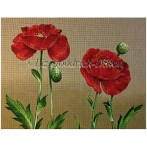 Liz Goodrick-Dillon - Hand-painted Canvas -  Two Red Poppies