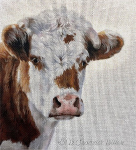 Liz Goodrick-Dillon Hand Painted Needlepoint - Moo, Guernsey Cow Portrait