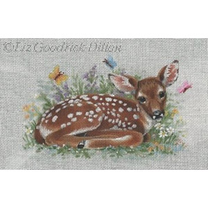 Liz Goodrick-Dillon Hand Painted Needlepoint - Fawn & Butterflies
