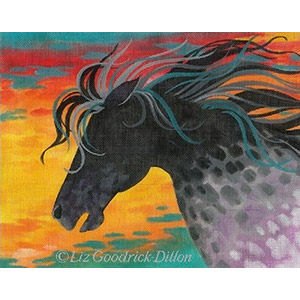Liz Goodrick-Dillon Hand Painted Needlepoint - Fire Horse
