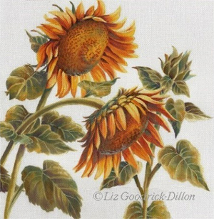 Liz Goodrick-Dillon Hand Painted Needlepoint - Sunflowers