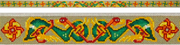 Celtic Hounds Belt - Hand Painted Needlepoint Canvas by Lena Lawson from the Ziba Collection