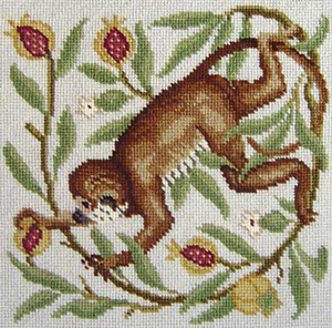 Beth Russell Needlepoint - Aesops Collection - Monkeys - Pale Background - Miniature Kit