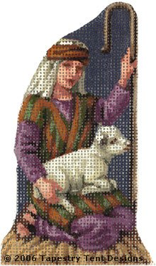 Shepherd Boy Hand-Painted Needlepoint Canvas