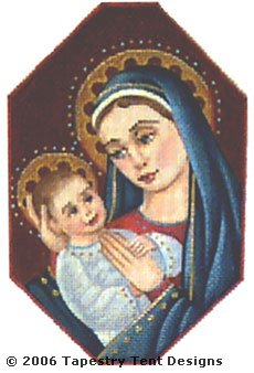 Madonna & Child Hand-Painted Needlepoint Canvas