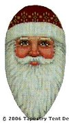 Santa Head Hand-Painted Needlepoint Canvas