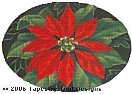 Red Poinsettia Hand-Painted Needlepoint Canvas