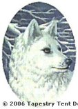 Arctic Wolf Hand-Painted Needlepoint Canvas