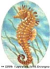 Seahorse Hand-Painted Needlepoint Canvas