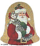 Santa & Kitty (Ornament) Hand-Painted Needlepoint Canvas
