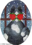 Kitty & Window Hand-Painted Needlepoint Canvas
