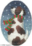 Dog & Snow Hand-Painted Needlepoint Canvas