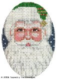 Green Santa Hand-Painted Needlepoint Canvas