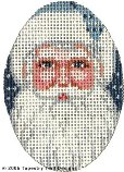 Blue Santa Hand-Painted Needlepoint Canvas