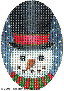 Top Hat Snowman Hand-Painted Needlepoint Canvas