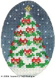 Tree & Red Bows Hand-Painted Needlepoint Canvas