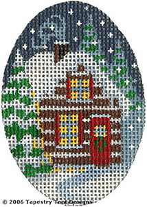 Christmas Cottage Hand-Painted Needlepoint Canvas