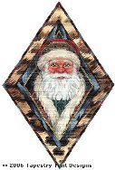 Santa in Leopard Frame Hand-Painted Needlepoint Canvas