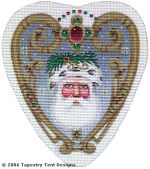 Elegant Santa Ornament Hand-Painted Needlepoint Canvas