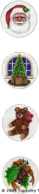 Christmas Medallions Hand-Painted Needlepoint Canvas