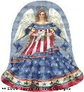 Patriotic Angel Hand-Painted Needlepoint Canvas