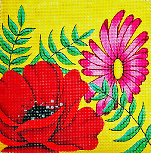 Poppy Mini - Hand Painted Needlepoint Canvas from Trubey Designs