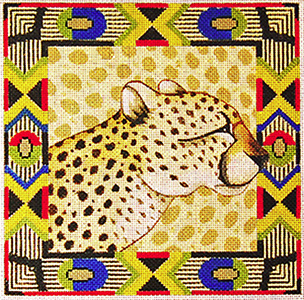 Cheetah with Border - Hand Painted Design from Trubey Designs