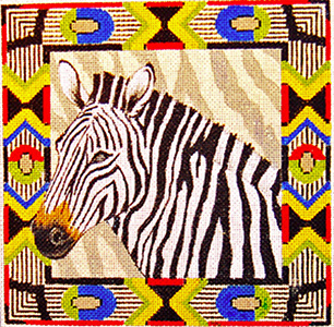 Zebra with Border - Hand Painted Design from Trubey Designs