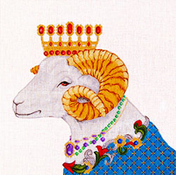 Jewelled Ram - Hand Painted Design from Trubey Designs