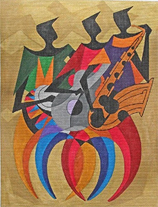 Jazz Players Band Trio hand painted canvas from Prince Duncan Williams
