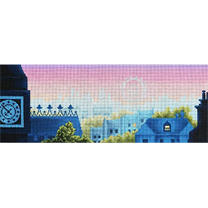 Rooftops of London Hand Painted Needlepoint Canvas from Abigail Cecile