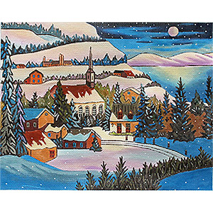 Full Moon Hand Painted Needlepoint Canvas by Louise Marion