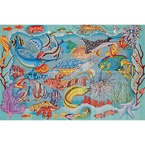 Reef Dweller Rug - Hand Painted Needlepoint Canvas from Trubey Designs