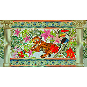Neo-classic Tiger Rug - Hand-Painted Needlepoint Canvas