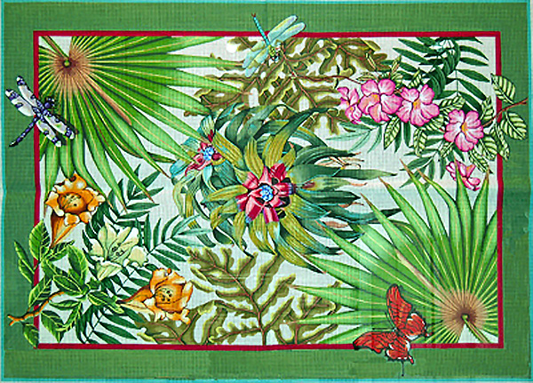 Rain Forest Rug - Hand-Painted Needlepoint Rug Canvas