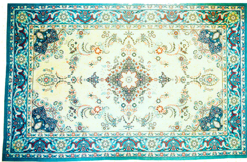 Oriental Rug Blue Hand-Painted Needlepoint Rug Canvas