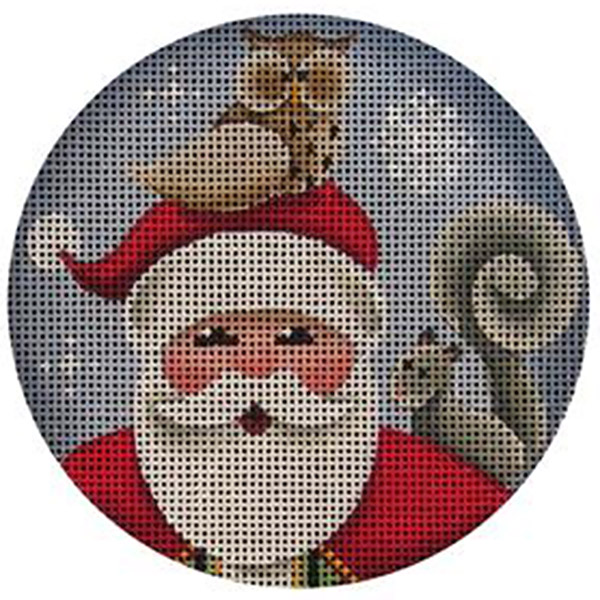 Hootie Santa Hand Painted Christmas Ornament Canvas from Rebecca Wood