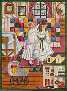 Patchwork Quilt Hand Painted Canvas from Rebecca Wood