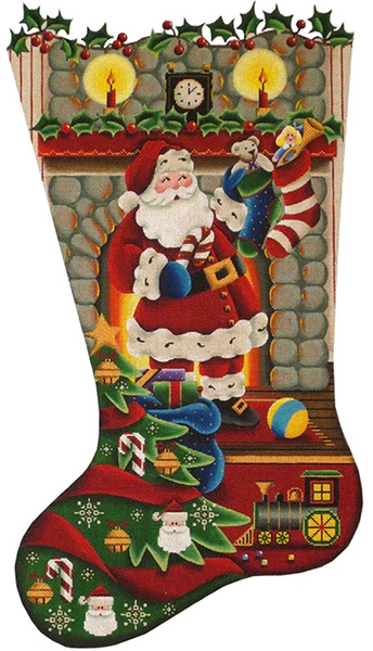 Stockings on the Hearth Hand Painted Stocking Canvas from Rebecca Wood